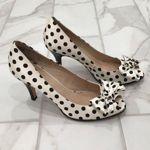 Black & white polka dot peep toe heel. Size 6.5